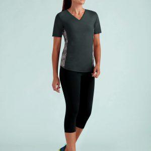 Prothese sport t-shirt Amoena V-Neck Shirt - Charcoal / Snake